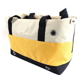 Durable Striped Oxford Cloth Handbag Hand Bag Pet Dog Cat Carrier Bag (Beige,Yellow,Black)