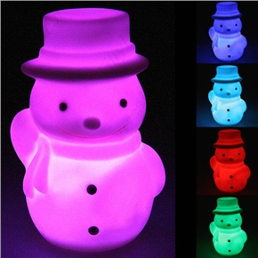 Lovely Christmas Snowman Shaped Color Changing LED Desktop Small Night Lamp (White)