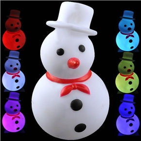 Lovely Christmas Snowman Shaped Color Changing LED Desktop Small Night Lamp with Red Bow Tie(White)