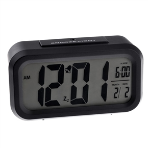 Smart Alarm Snooze Clock with LCD Screen Displaying (Black)