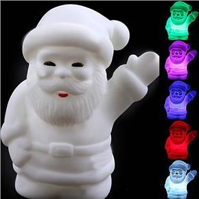 Smiling Santa Claus Shaped Design Color-Changing LED Desktop Small Night Lamp (White)