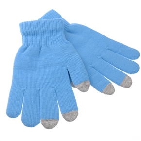 Universal 3-finger Capacitive Screen Touching Gloves Warm Gloves - One Pair (Sky-blue)