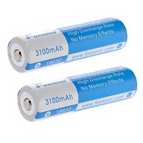 2pcs Foxnovo 18650 3.7V 11.5Wh 3100mAh IC Protected Rechargeable Li-ion Batteries