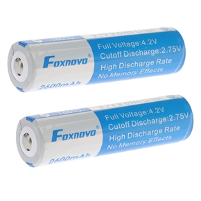 2pcs Foxnovo 18650 3.7V 9.6Wh 2600mAh IC Protected Rechargeable Li-ion Batteries