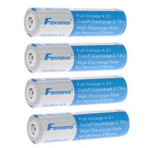 4pcs Foxnovo 18650 3.7V 9.6Wh 2600mAh IC Protected Rechargeable Li-ion Batteries
