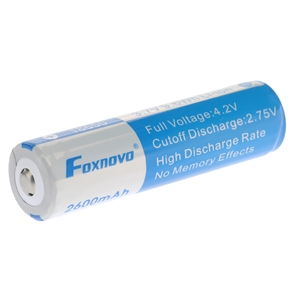 Foxnovo 18650 3.7V 9.6Wh 2600mAh IC Protected Rechargeable Li-ion Battery
