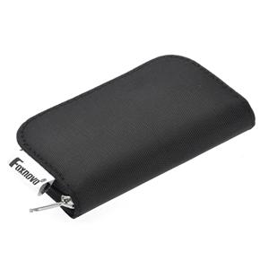 Foxnovo 22-Slots SD SDHC MMC CF Micro SD Memory Card Holder Pouch Case Zippered Storage Bag Protector (Black)