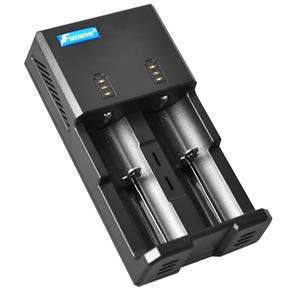 Foxnovo F02 2-Slots Li-ion Ni-MH Ni-CD Unviersal Portable Intelliegnt Battery Charger with 5V USB Output /LED Indicators /US-plug Power Adapter /12V Car Adapter (Black)