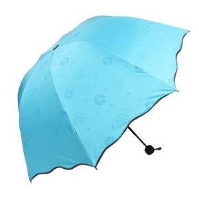 Triple Folding Dome Ruffled Parasol Sun Rain Umbrella Anti-UV Parasol (Sky Blue)