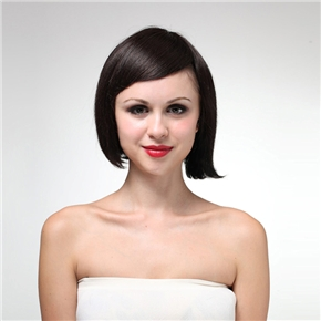 ... Chin-length Straight Human Hair Wig with Side Bangs for Women (Brown