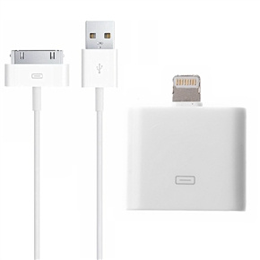 ... for iPhone 5 /iPad mini (White). 2-in-1 1M 30-pin USB Data Charging Cable & 30-